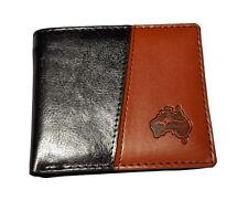 Australia Souvenir Mens Brown Tan Leather Wallet Kangaroo Map Embossed Gift Box