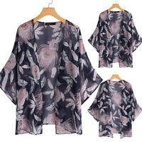 UK Womens Floral Open Front Tops Kimono Cardigan Coat Jacket Outerwear Plus Size