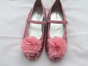 Girls Pink Stride Rite 'Buffy' Ballet Flat - Glitter Shoes - Size 1.5 AU (33 EU)