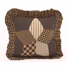 """Ruffled Patchwork Throw Pillow Farmhouse Star Country Style Charcoal 10"""" Square"""