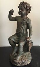 Antique Bronze Greek Cherub Boy Child w Toga Statue Sculpture