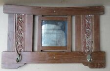 Antique remade wooden Wall fixing wood Mirror frame Carved panel Brass hook