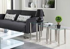 Nest of 3 Tables Clear Glass Side End Square Modern Table Set Chrome Legs