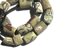 16 RARE WELL WORN OLD AMAZING MIXED AKOSO ANTIQUE BEADS AFRICAN TRADE