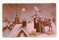 St Nicolas—Antique French Santa Claus RPPC Purple Robe—Donkey Toys Photo CPA~30s