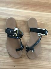 Ladies Cute Black Flat Synthetic Summer Sandals - No Brand - Size 8