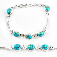 925 Sterling Silver 22.04cts Blue Copper Turquoise Tennis Bracelet P54829