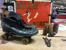 Vintage Roller Derby Skates size 9 Parts Wood Wheels Bearings Wrench 44/stm