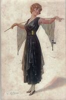 CALDERARA Donnina Elegante Glamour Fashion PC Italy Viaggiata 1918 Zona Guerra
