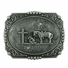 ✖ WESTERN STEER Cross Cowboy Horse Faith Rodeo Style Large Belt Buckle Buck ✖USA