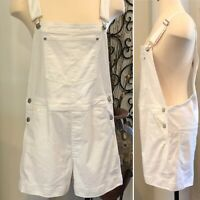Women's GAP White Denim Overall Shorts Shortalls Size M/T