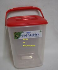 Whitefurze Plastic Canister Food Storer Storage Containers Set of 2 6litre White Lid With Handle
