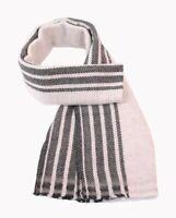 Brand New 100% Wool Cashmere White With Black Lines Herringbone Men's Scarf
