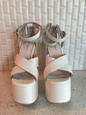 jeffrey campbell White Platform Sandals Pumps Wedding Leather 7.5