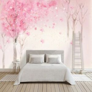 Romantic Pink Wallpaper For Bedroom & Girls Room Wall Mural Wallpapers Cute 3D