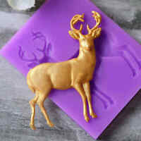 3D Christmas Buck Deer Elk Shape Fondant Mould Cake Chocolate Silicone Mold Tool