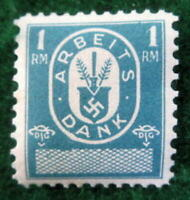 NAZI GERMANY 1 REICHSMARK BLUE ARBEITS DANK LABOR DUES REVENUE STAMP 1933-37MINT