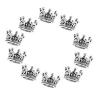 10Pcs Micro Mini Crown Beads for Bracelet Making Jewelry Charm Spacer Beads