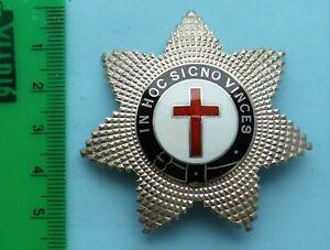 Masonic Solid Silver Knights Templar Breast Jewel 1950