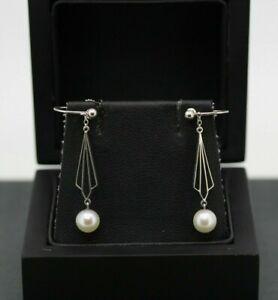 9ct White Gold Pearl Drop Dangle Earrings