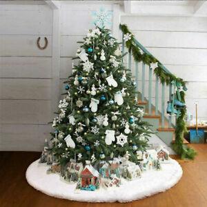 Weiß Weihnachtsbaumdecke Weihnachtsdeko Weihnachtsbaum Rock Plüsch Weihnachtsbau