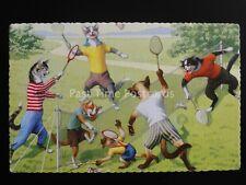 Alfred Mainzer Cats BADMINTON SHUTTLE Artist Eugen Hartung c1950's Postcard 4713