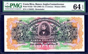 Costa Rica 5 Colones (1903-1917) Pick-S122r Ch UNC PMG 64 EPQ