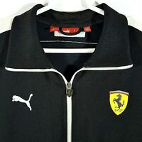 Puma Ferrari Women's Jacket Black White Logo Full Zipper Pockets Large L