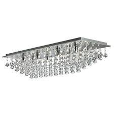 Hanna Chrome 8 Light Ceiling Fitting Home Lighting With Clear Crystal Drops New