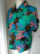 Vintage Viscose Shirt Top 12 UK Floral Print Coral Pink Khaki Green Purple