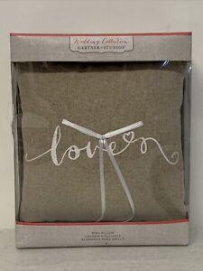 Wedding Love Script Linen Ring Bearer Pillow  Gartner Studios ~ Country, rustic
