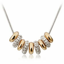 White Rose Gold Crystal Two Tone Gold Fill 9 Circle Ring Necklace N290