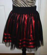 Girls Kids D-Signed Disney Black Red Striped Satin Skirt Tulle Halloween Costume