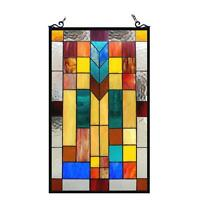 """Stained Glass Chloe Lighting Mosaic Design Window Panel CH1P025AM26-GPN 16 X 26"""""""