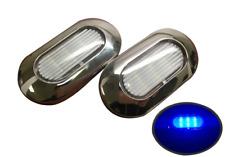 Pactrade 2pcs Boat Blue LED Light SS304 Housing Surface Mount 12V 22LM IP67 6LED