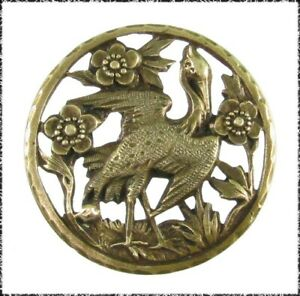 Antique Openwork Brass Button - Stork Walking Among Flowers