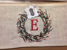 "New Mud Pie Christmas Initial ""E"" Burlap Pillow Wrap Decorate For Holidays"