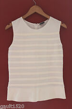 NWT Theory Designer Gaian White Leather Peplum Stripe Blouse Pryor Top 10 $375