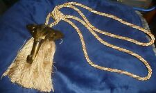 Single Elephant Curtain Tie/Holder w/ Ivory Tassels, Gold Highlights, Exc Cond