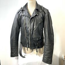 Vintage Excelled Moto Motorcycle Black Leather Jacket Heavy Zippers Belt 38