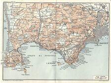Carta geografica antica GOLFO DI POZZUOLI Napoli TCI 1927 Old antique map