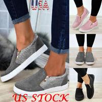 Fashion Women Casual Hollow Out Sneakers Platform Flat Rhinestone Snakeskin Shoe