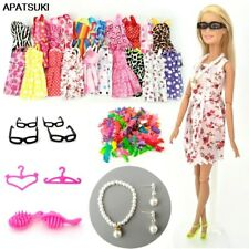 30 items Doll Accessories = 10 Shoes & 10 Dress Clothes Necklace Earring Glasses