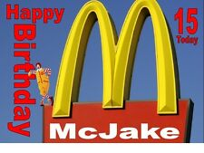 PERSONALISED MC DONALDS RONALD A4 TRI FOLD BIRTHDAY CARD ANY NAME AGE GREETINGS