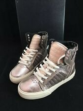 Supra Skytop Sneakers Girls Kids 1 Rose Gold Whisper Pink Skater High Top New