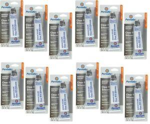 Permatex 80050 Clear RTV Silicone Adhesive Sealant 3 oz Tube  - Pack of 12