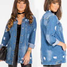 New Womens Stonewash Blue Longline Distressed Denim Ladies Jacket (RRP £49.99)