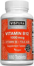 Vitamin B12 1000 mcg Methylcobalamin + B6/Folic Acid, 180 Vegan Tablets