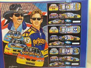 "Richard Petty & John Andretti Sam Bass Lithograph 23.5x18"" Used Great Cond"