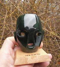 Carved Mayan Mask Top Grade Canadian Bluish Polar Jade